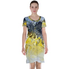 Bright Yellow Abstract Short Sleeve Nightdresses