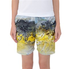 Bright Yellow Abstract Women s Basketball Shorts