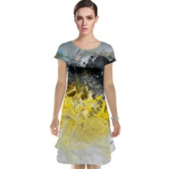 Bright Yellow Abstract Cap Sleeve Nightdresses