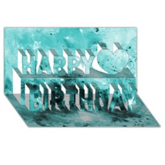 Turquoise Abstract Happy Birthday 3D Greeting Card (8x4)