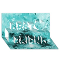 Turquoise Abstract Best Friends 3D Greeting Card (8x4)