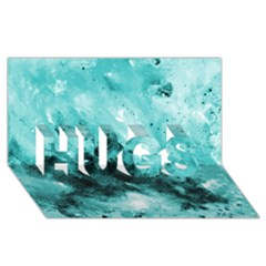 Turquoise Abstract HUGS 3D Greeting Card (8x4)