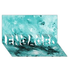 Turquoise Abstract Engaged 3d Greeting Card (8x4)