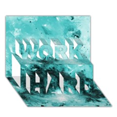 Turquoise Abstract WORK HARD 3D Greeting Card (7x5)