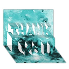 Turquoise Abstract THANK YOU 3D Greeting Card (7x5)