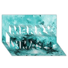 Turquoise Abstract Merry Xmas 3D Greeting Card (8x4)