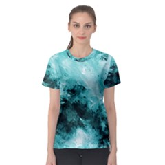 Turquoise Abstract Women s Sport Mesh Tees