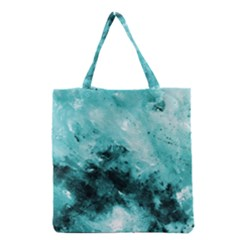 Turquoise Abstract Grocery Tote Bags