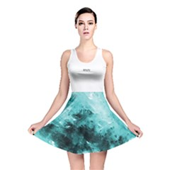Turquoise Abstract Reversible Skater Dresses