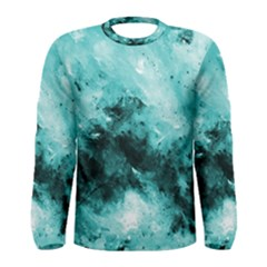 Turquoise Abstract Men s Long Sleeve T-shirts