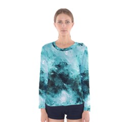 Turquoise Abstract Women s Long Sleeve T-shirts