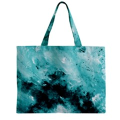 Turquoise Abstract Zipper Tiny Tote Bags
