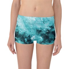 Turquoise Abstract Reversible Boyleg Bikini Bottoms