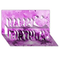 Bright Pink Abstract Happy Birthday 3D Greeting Card (8x4)