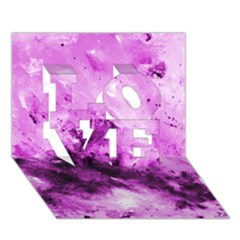 Bright Pink Abstract LOVE 3D Greeting Card (7x5)