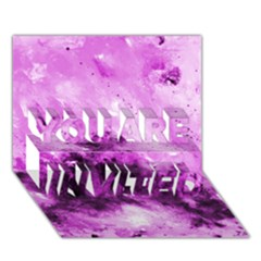 Bright Pink Abstract YOU ARE INVITED 3D Greeting Card (7x5)