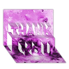 Bright Pink Abstract Thank You 3d Greeting Card (7x5)