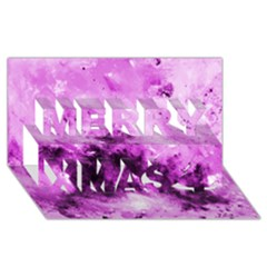 Bright Pink Abstract Merry Xmas 3D Greeting Card (8x4)