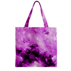 Bright Pink Abstract Zipper Grocery Tote Bags