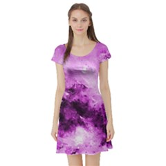 Bright Pink Abstract Short Sleeve Skater Dresses