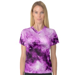 Bright Pink Abstract Women s V Neck Sport Mesh Tee