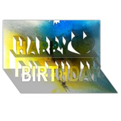 Watercolor Abstract Happy Birthday 3D Greeting Card (8x4)