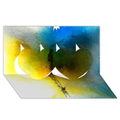 Watercolor Abstract Twin Hearts 3d Greeting Card (8x4)