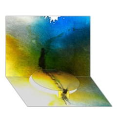 Watercolor Abstract Circle Bottom 3d Greeting Card (7x5)