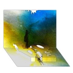 Watercolor Abstract Love Bottom 3d Greeting Card (7x5)