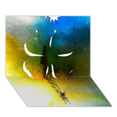 Watercolor Abstract Clover 3d Greeting Card (7x5)