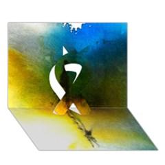 Watercolor Abstract Ribbon 3d Greeting Card (7x5)