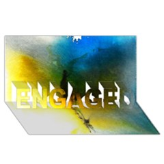 Watercolor Abstract ENGAGED 3D Greeting Card (8x4)