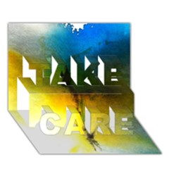 Watercolor Abstract TAKE CARE 3D Greeting Card (7x5)