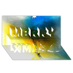 Watercolor Abstract Merry Xmas 3D Greeting Card (8x4)