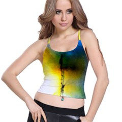Watercolor Abstract Spaghetti Strap Bra Tops