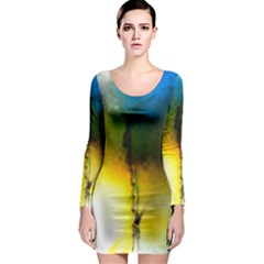 Watercolor Abstract Long Sleeve Bodycon Dresses