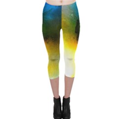 Watercolor Abstract Capri Leggings
