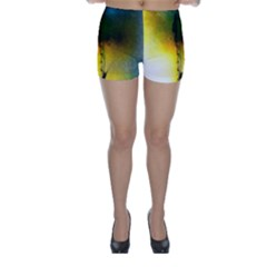 Watercolor Abstract Skinny Shorts