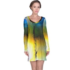 Watercolor Abstract Long Sleeve Nightdresses