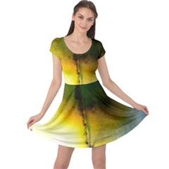 Watercolor Abstract Cap Sleeve Dresses