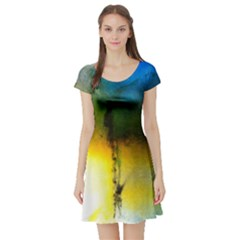 Watercolor Abstract Short Sleeve Skater Dresses