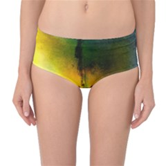 Watercolor Abstract Mid-Waist Bikini Bottoms