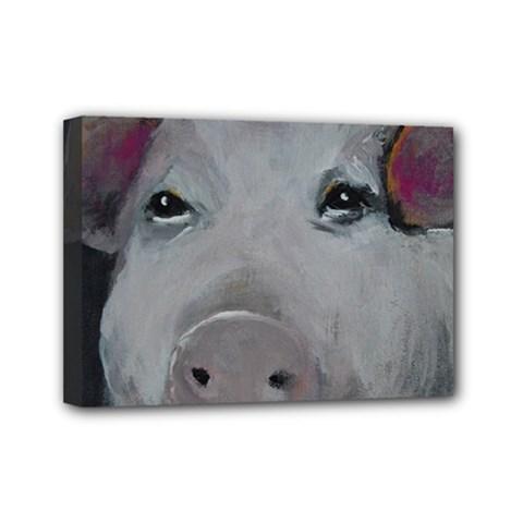 Piggy No  1 Mini Canvas 7  X 5