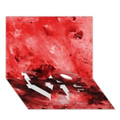 Red Abstract LOVE Bottom 3D Greeting Card (7x5)