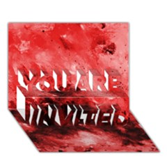 Red Abstract You Are Invited 3d Greeting Card (7x5)