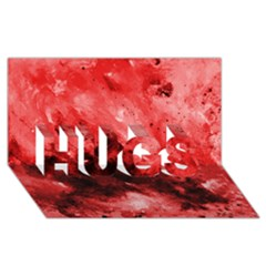 Red Abstract HUGS 3D Greeting Card (8x4)