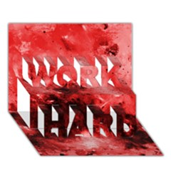 Red Abstract Work Hard 3d Greeting Card (7x5)