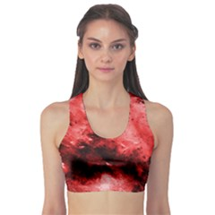 Red Abstract Sports Bra