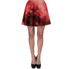 Red Abstract Skater Skirts