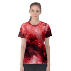 Red Abstract Women s Sport Mesh Tees
